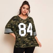 Plus Drop Shoulder Number & Striped Camo Top