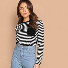Pocket Patched Striped Top