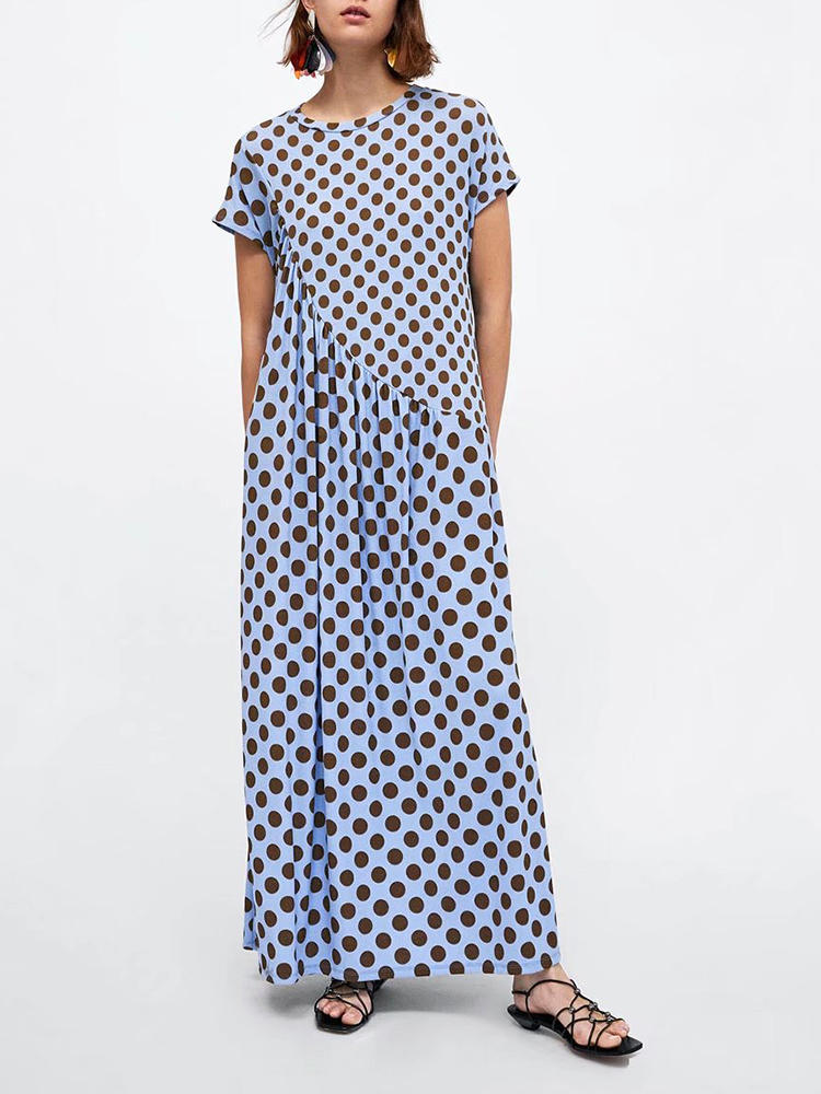Short Sleeve Polka Dot Print Stitching Maxi Dress