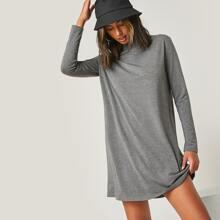 T-Shirt Kleid mit Stehkragen