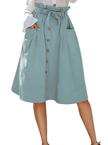 Milanoo Bolsa de papel Falda Botones Falda midi de mujer de cintura alta con bolsillos