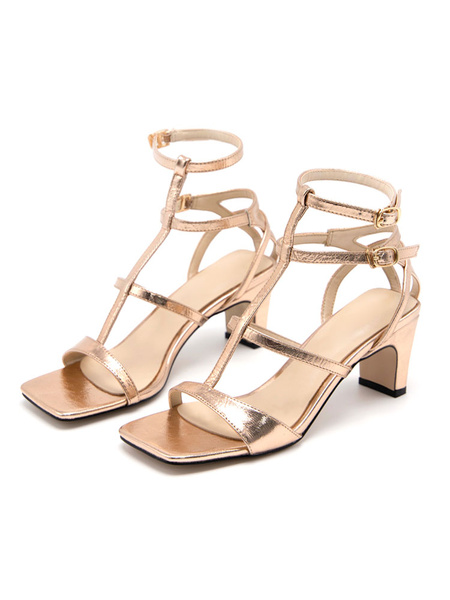 Milanoo Sandalias de gladiador plateadas Zapatos de mujer de tacon en bloque tipo T