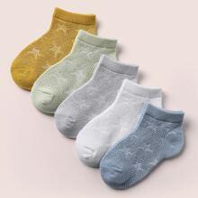 5 pares calcetines de niñitos con patron de estrella