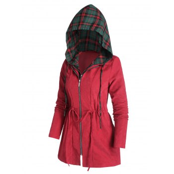Drawstring Hooded Plaid Coat