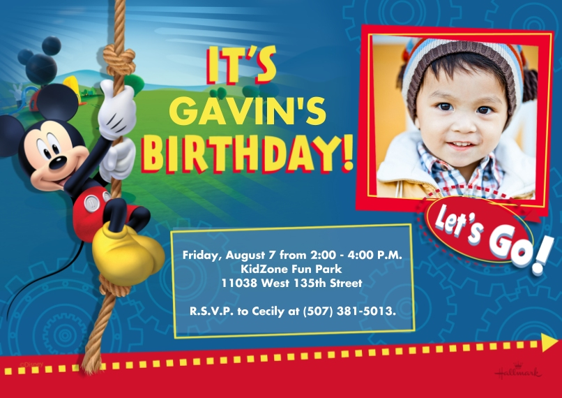 Kids Birthday Party Invites 5x7 Cards, Premium Cardstock 120lb with Rounded Corners, Card & Stationery -Mickey Mouse Clubhouse Birthday