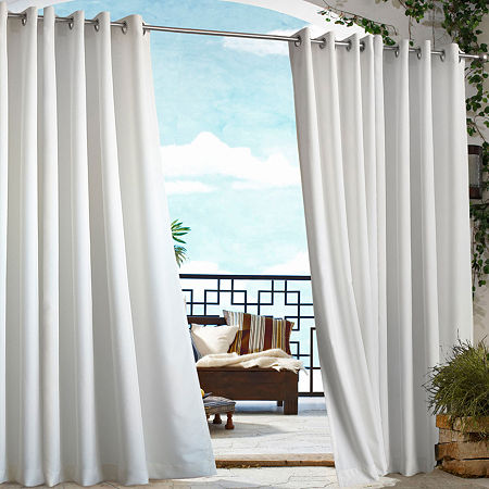 Gazebo Solid Grommet-Top Outdoor Curtain Panel, One Size , Black