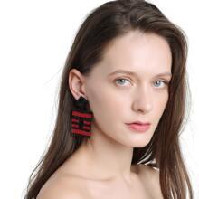 Hollow Out Geometric Striped Drop Earrings