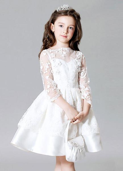 Milanoo Flower Girl Dress Illusion Sleeve Lace Flowers Kids' Beading Knee Length Satin Dress
