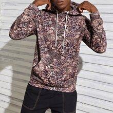 Hoodie mit Taschen Flicken und Paisley Muster