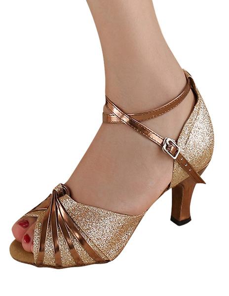 Milanoo Zapatos baile latino de seda y saten