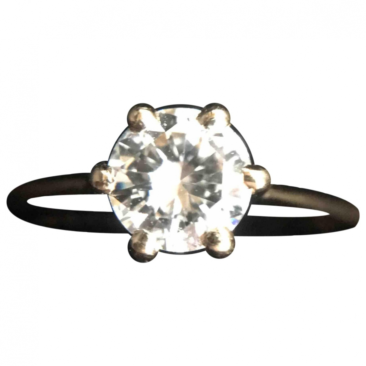 Non Signe / Unsigned Solitaire Ring in  Gold Gelbgold