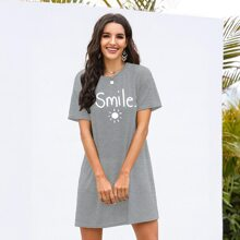Sun And Letter Graphic Tee Dress