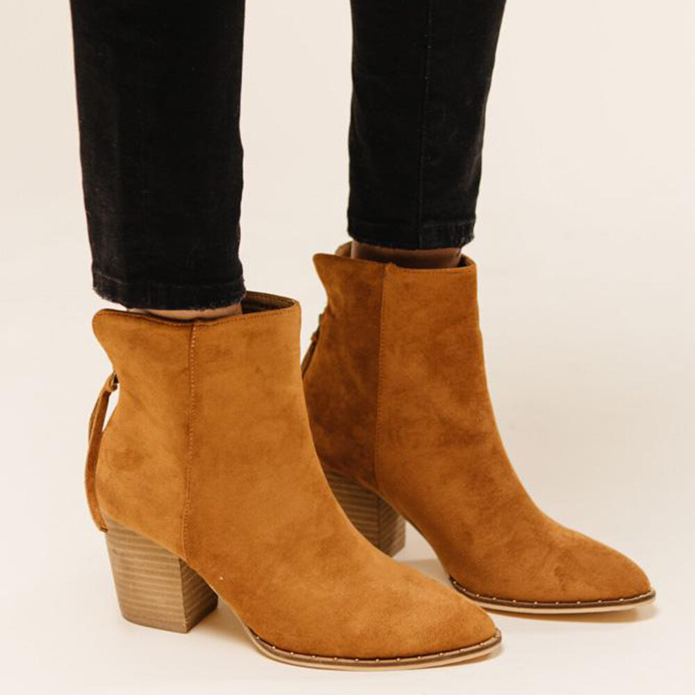 Large Size Pointed Toe Suede Zipper Ankle Boots