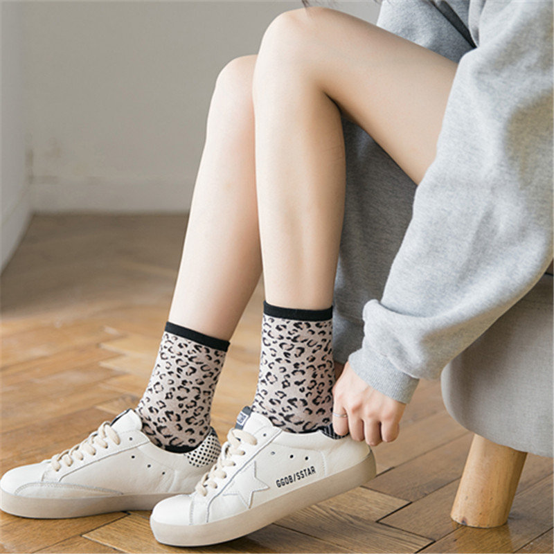 Women Cotton Thin Leopard Breathable Warm Soft Durable Not Fade Fashion Socks