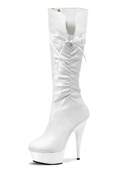 Milanoo Black Sexy Boots Women Platform Almond Ruched Knee High Boots