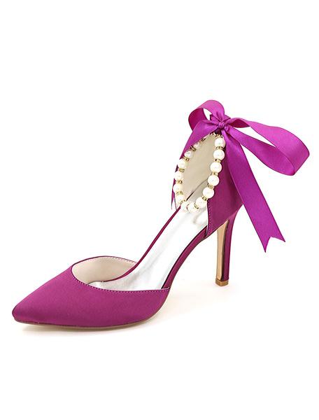 Milanoo Zapatos de novia de saten 9.5cm Zapatos de Fiesta Zapatos azul  de tacon de stiletto Zapatos de boda de puntera puntiaguada con perlas