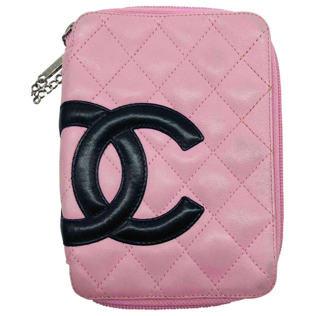 Chanel - Pochette Cambon pour femme en cuir - rose