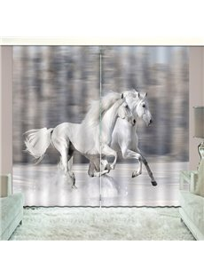 White Running Horses Across Snow Animal Blackout Print Curtain