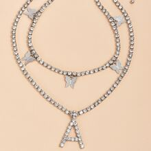 2 Stuecke Halskette mit Strass und Schmetterling Dekor