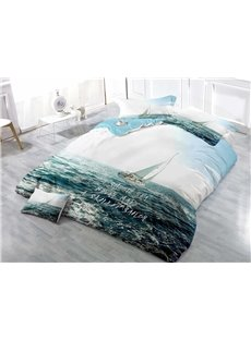 Sailing Ship In the Vast Ocean Wear-resistant Breathable High Quality 60s Cotton 4-Piece 3D Bedding Sets