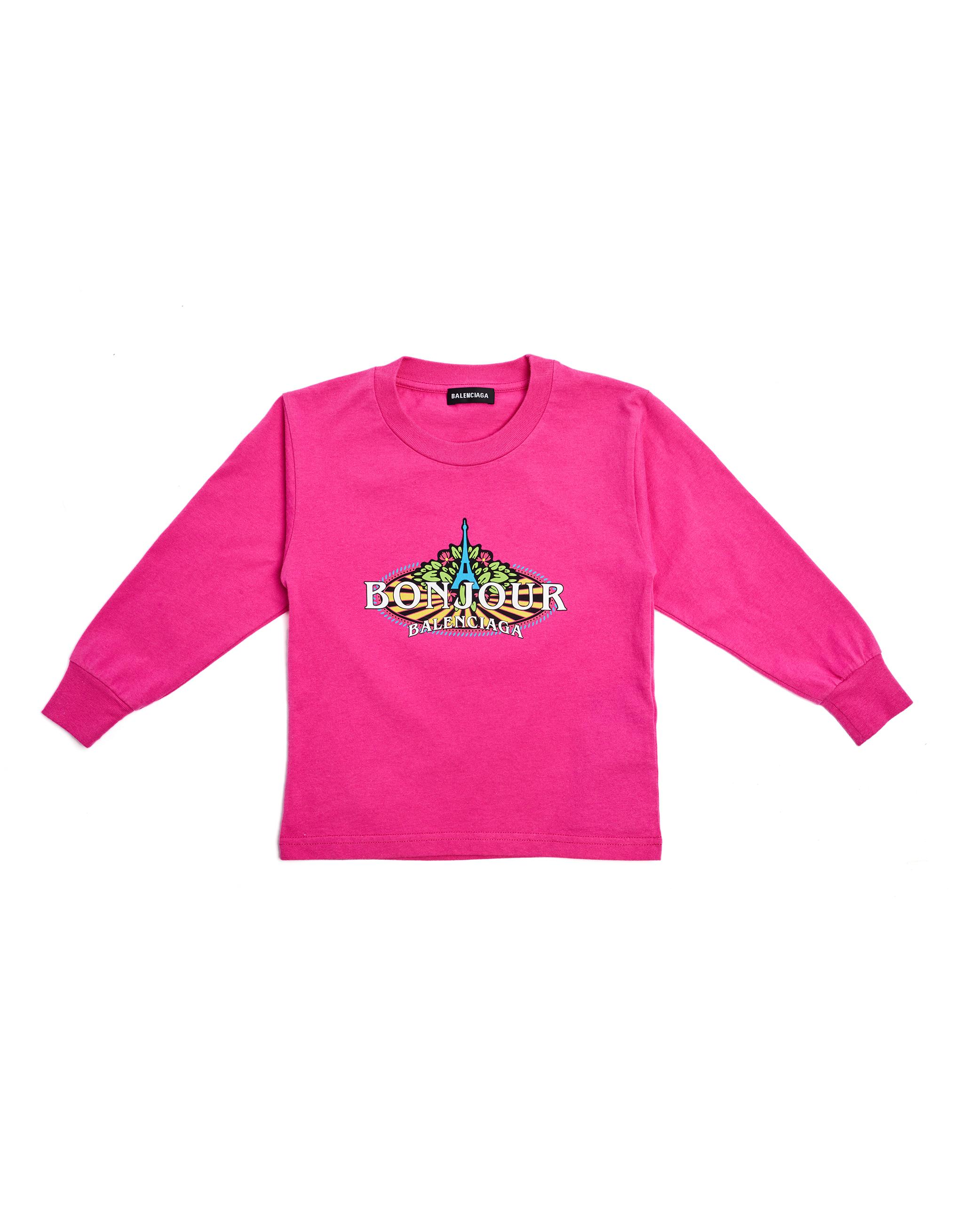 Balenciaga Kids Pink Cotton Bonjour L/S T-Shirt