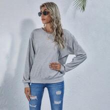 Guipure Lace Back Drop Shoulder Rib-knit Sweatshirt