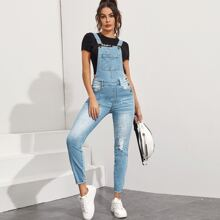 Ripped Pocket Front Denim Overall