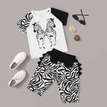 Kleinkind Jungen T-Shirt mit Zebra Muster und Shorts