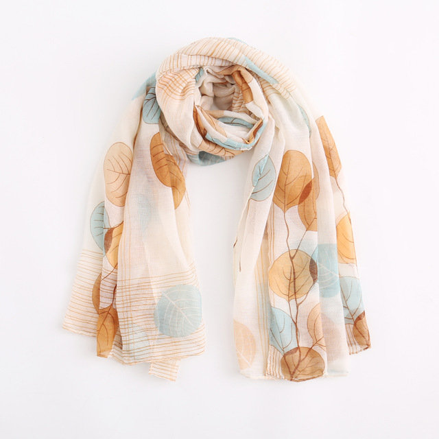 New Fashion European And American Country Seasons Style Leaf Pattern Wild Soft Yarn Scarves Scarf