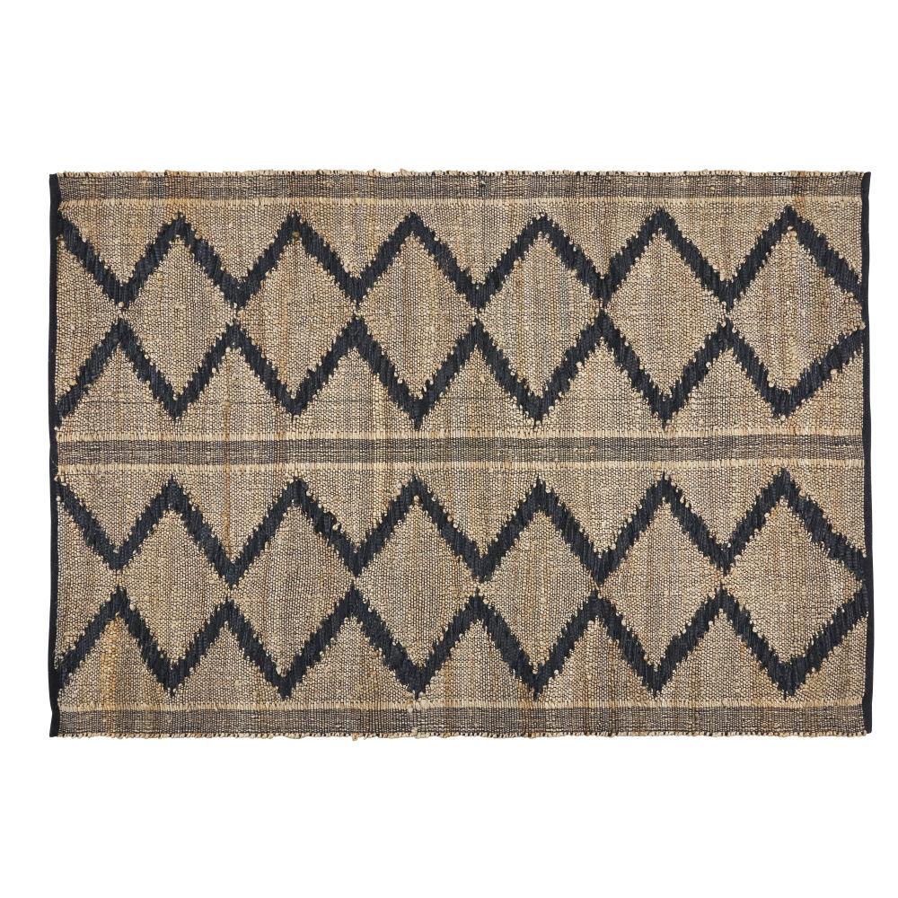 Teppich aus Jute, Baumwolle und Leder mit Grafikmuster 160x230