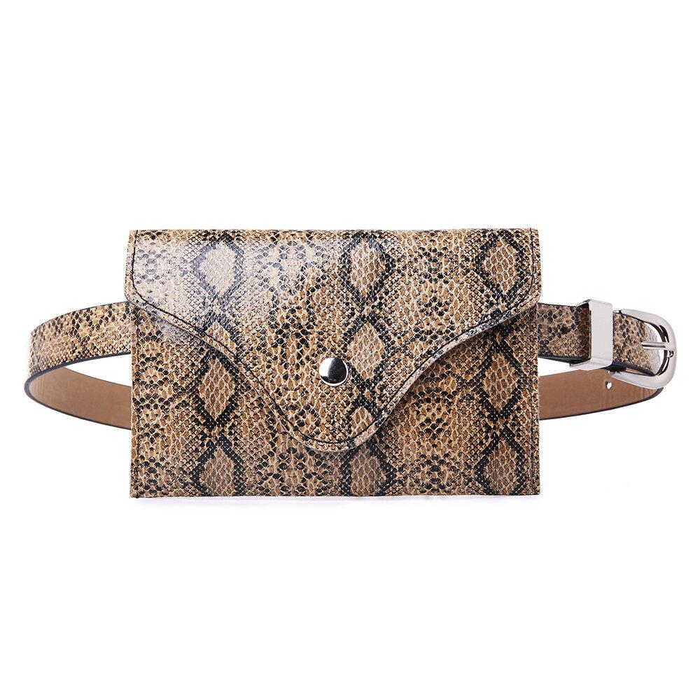 Women Snake Pattern 5.5 Inch Phone Purse PU Leather Waist Bag