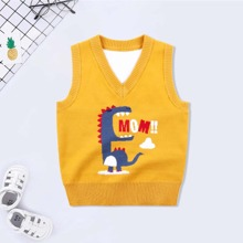 Toddler Boys Cartoon And Letter Graphic Sweater Vest