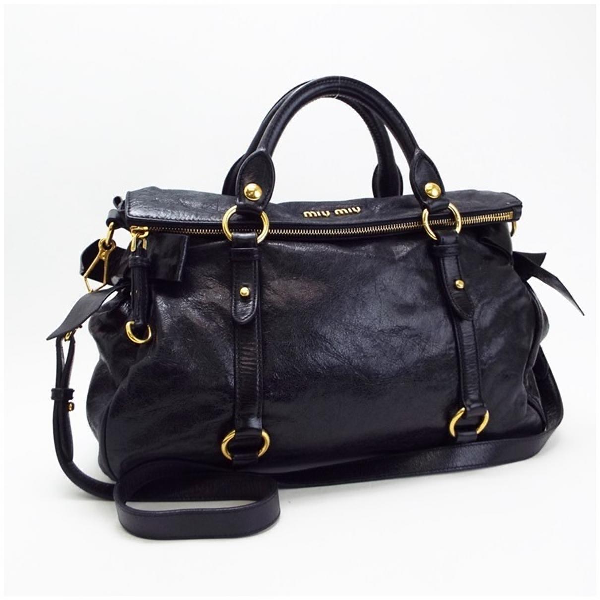 Miu Miu Bow bag Black Leather handbag for Women \N