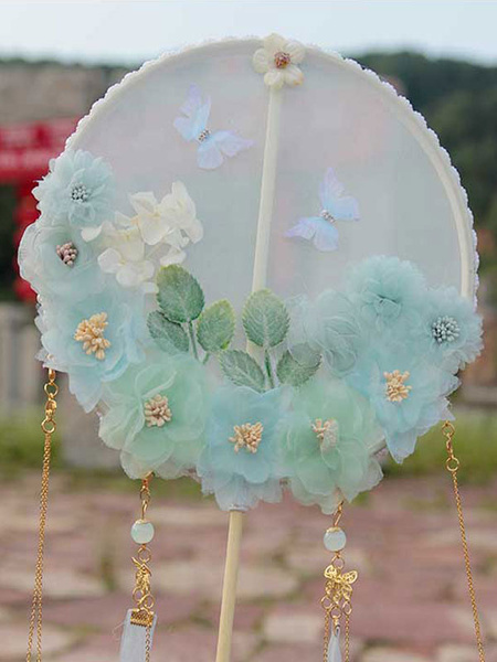 Milanoo Chinese Style Lolita Fans Soft Pink Flowers Ribbons Butterfly Pattern