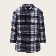 Boys Plaid Tweed Coat