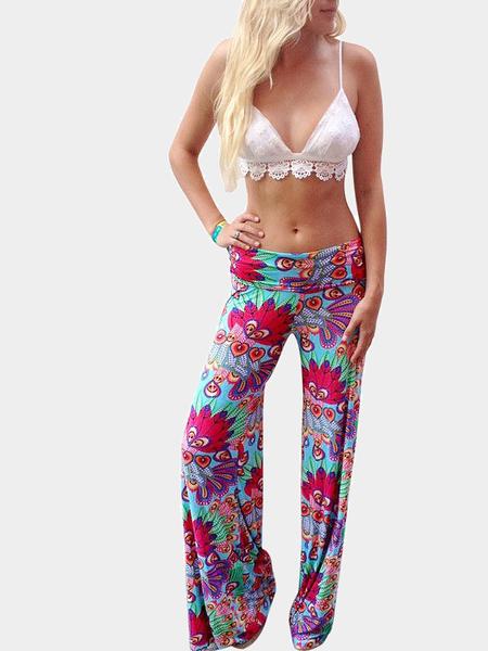 Yoins Pink Vintage Floral Straight Trouser