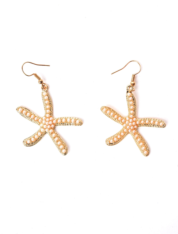 Kostuemzubehor Ohrringe Seestern mit Perle Farbe: cremeweiss