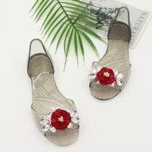 Sandalen mit Edelstein & Blumen Dekor