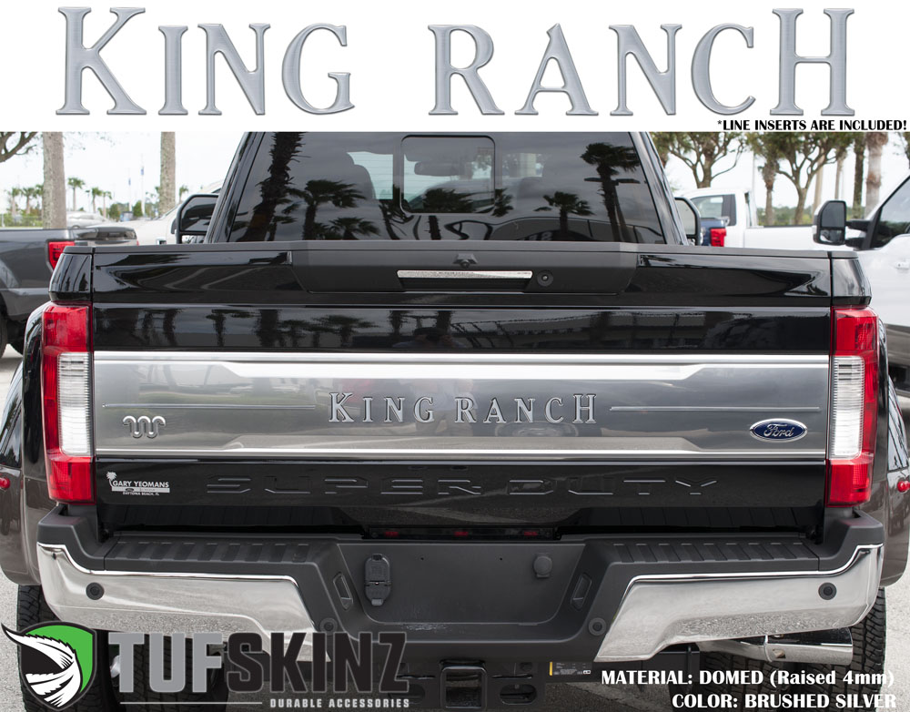 Tufskinz SUP041-DUM-G Tailgate Inserts w/Line Inserts Fits 2017-2021 Ford Super Duty King Ranch 11 Piece Kit in Brushed Silver