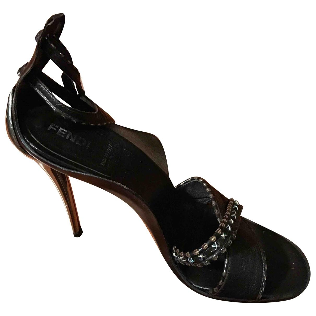 Fendi - Sandales   pour femme en cuir - marron