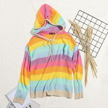 Rainbow Striped Drawstring Hooded Sweater