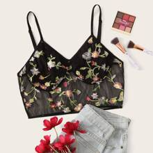 Plus Floral Embroidery Sheer Bralette