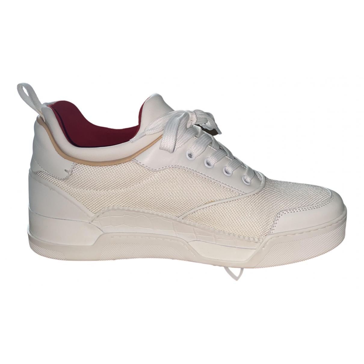 Christian Louboutin N White Cloth Trainers for Men 42 EU