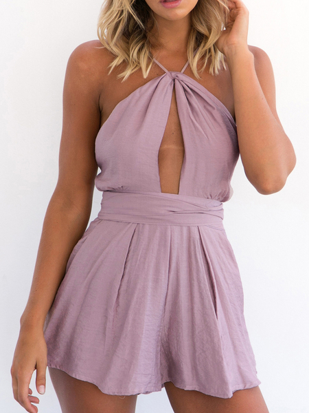 Yoins Purple Sexy Cut Out Backless Playsuit with Self-tie Design
