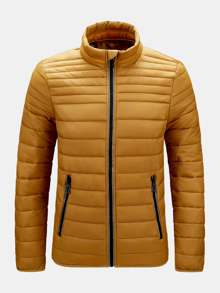 Mens Solid Color Thick Full Zipper Stand Collar Winter Down Puffer Jacket