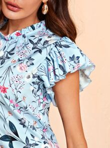 Frill Neck Butterfly Sleeve Botanical Print Top