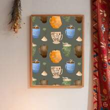 Coffee Cup Print Wall Painting Without Frame