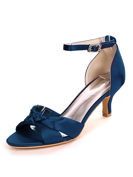 Milanoo Wedding Guest Shoes Satin Champagne Open Toe Buckle Kitten Heel Bridal Shoes