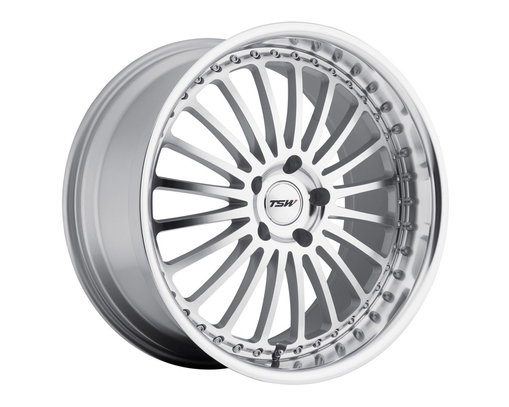 TSW Silverstone Wheel 18x8 5x112 32mm Silver w/ Mirror Cut Face & Lip