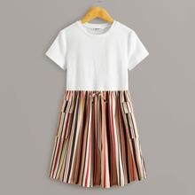 Maedchen Kleid mit Taschen Klappe, Farbblock und Streifen